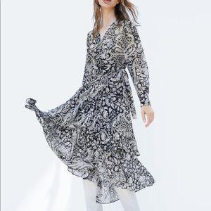 ZARA Printed Crossed Dress